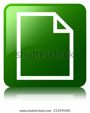 Blank document page icon glossy green reflected square button - stock photo
