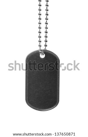 blank dog tag isolated on white