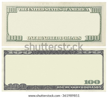 Blank 100 dollar banknote isolated  - stock photo