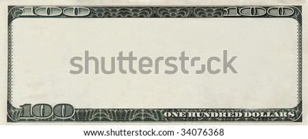 blank 100 Dollars bank note for design with copyspace - stock photo