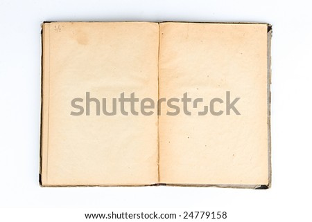 Blank double-page spread of tattered book