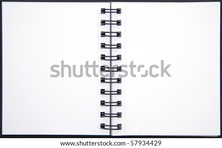 Blank double-spread spiral notebook isolated on white background. - stock photo