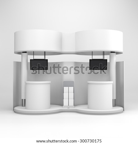blank double stall or booth with tv displays - stock photo