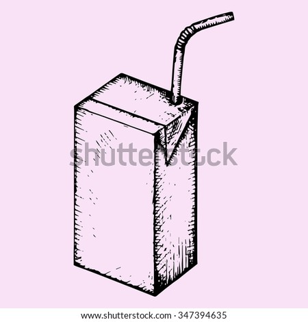 blank drink box, packaging, juice, milk, yogurt, milk with drinking straws, doodle style, sketch illustration, hand drawn, raster - stock photo