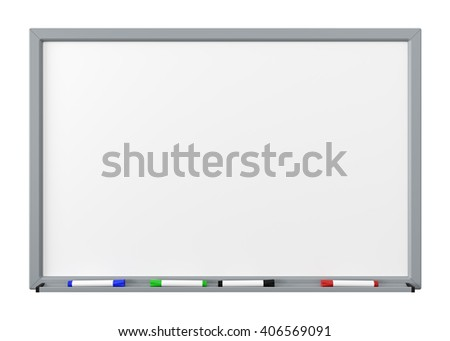 Blank Dry Erase White Board with Gray Metal Frame, Tray and Four Color Felt-Tip Pens Isolated on White Background 3D Render