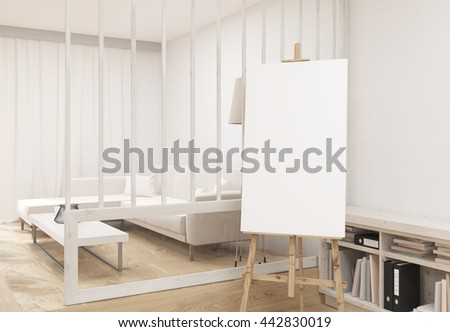 Blank easel in living room interior with wooden floor, concrete walls, comfortable couch with coffee table and bookshelves. Mock up, 3D Rendering - stock photo