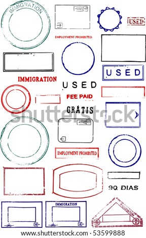 Blank editable passport stamps on a white background - stock photo