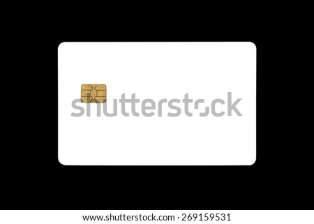 Blank Electronic Chip Credit Card On Black background - stock photo