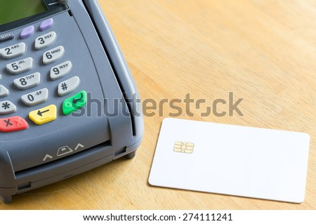 Blank Electronic Chip Credit Card With Credit Card Machine - stock photo