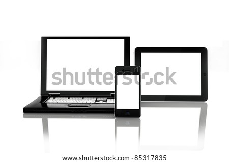 Blank electronic screens, blank empty white screens of smartphone mobile, Tablet PC and a laptop. rendered in 3D ,screens left white to insert custom screens of your choice - stock photo