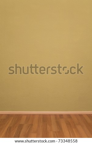 Blank Empty Grunge Room with Wallpaper and Parquet - stock photo