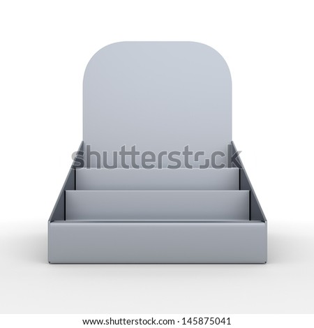blank empty holder or box display for products from front. 3d render isolated on white - stock photo
