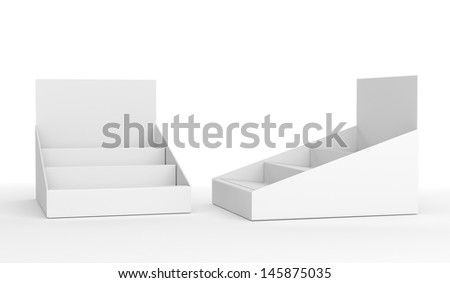blank empty holder or box display for products isolated on white. 3d render - stock photo