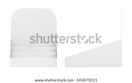 blank empty holder or box display for products isolated on white. Front and side view. 3d render - stock photo