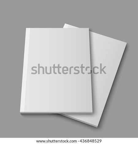 Blank empty magazine or book template lying on a gray background. 3D illustration, rendering. Mock up layout. - stock photo