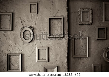 Blank Empty  Photo Frames on a  rough Grungy Background  - stock photo