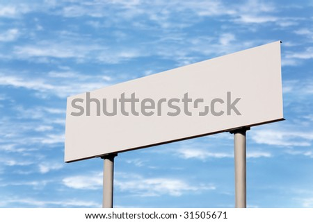 Blank empty road name sign against bright sky, large detailed white copy space background