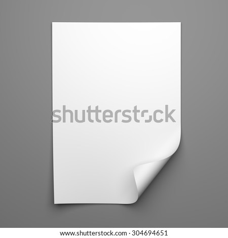 Blank empty sheet of white paper with curled corner on grey background - stock photo