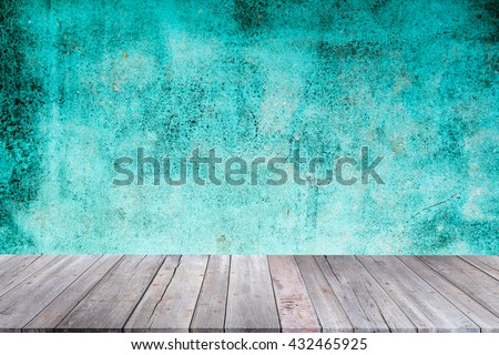 blank empty wall and floor in a blue color,Background of concrete wall texture For design with copy space for text or product image .