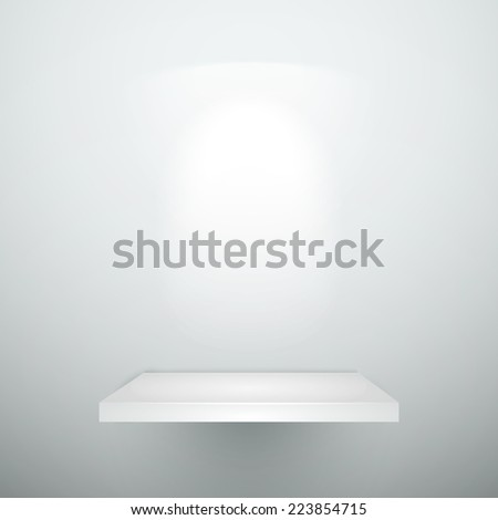 blank empty white wooden shelf with illumination