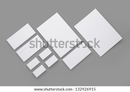 Blank Envelopes Business card Documents and Folder isolated on grey / Corporate id stationary - stock photo