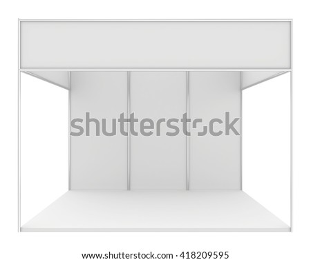 Blank exhibition stand. 3d render isolated on white background - stock photo