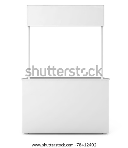 Blank Exhibition Stand isolated on white - 3d illustration - stock photo