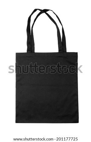 Blank fabric bag isolated on white background - stock photo