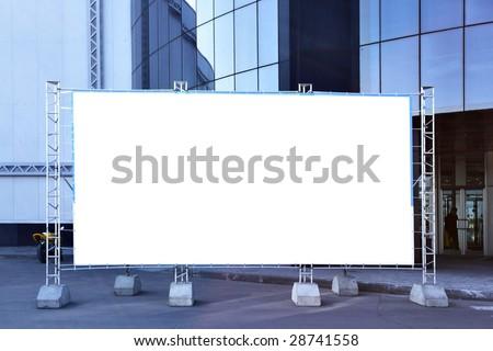 Blank fabric billboard on a street close up - stock photo