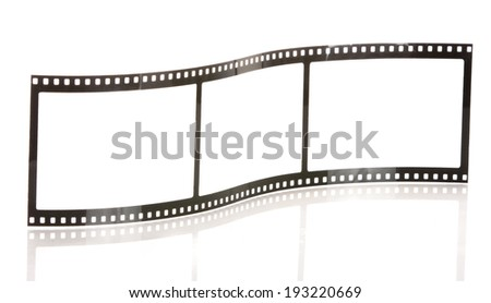 blank film strip isolated on white with reflection - stock photo