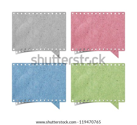 blank film strip speech bubbles recycled paper craft stick on white background