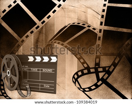 Blank film strip with movie clapper - stock photo