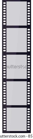 Blank film strips (clipping path and isolated on white) - stock photo