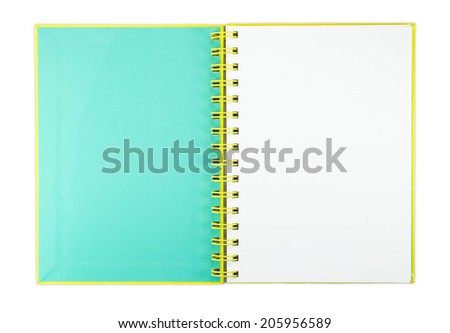 blank first page of sketchbook isolated in white background with clipping path - stock photo