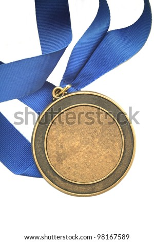 blank first place gold medal blue ribbon champion award with room for your text or title isolated on white background with copyspace - stock photo