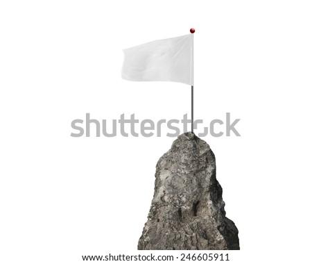 blank flag with the mountain peak isolated on white background - stock photo