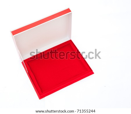 Blank flat opened red box isolated on white. Top view. - stock photo