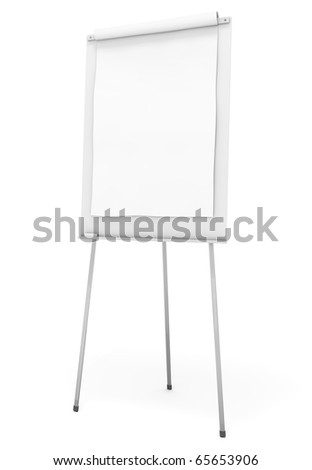 Blank flip chart against a white background; 3D rendered illustration
