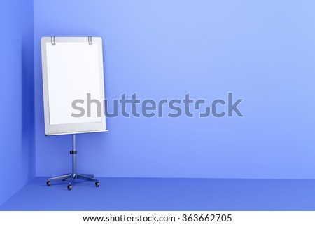 Blank flip chart in blue colored office room - stock photo