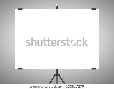 blank flip chart on gray background - stock photo