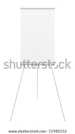 blank flipchart isolated on white background with clipping path - stock photo