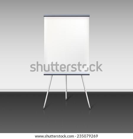 Blank flipchart stands near the wall,  illustration. - stock photo