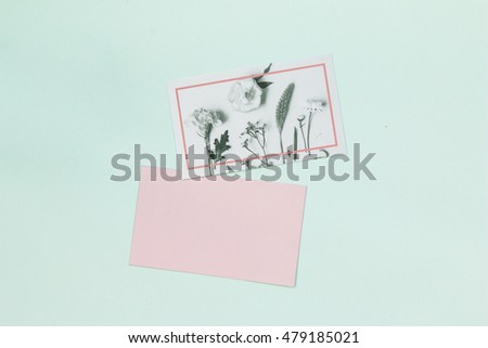 Blank flower name cards design on pastel background.