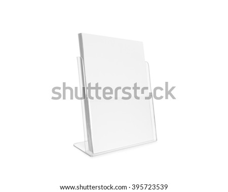 Blank flyer mockup glass plastic transparent holder isolated. Plain flier stand. Clear brochure holding. Clean poster mock up design presentation. Shows flyers. Pamphlet design. Empty paper template. - stock photo