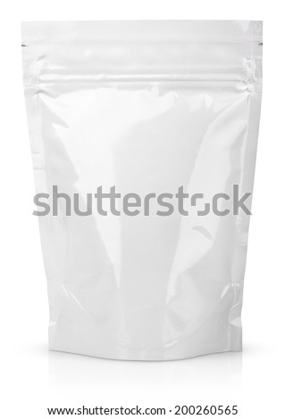 Blank Foil Food Or Drink Bag Packaging with valve and seal isolated on white