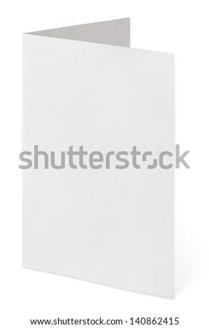 Blank folded flyer isolated on white with clipping path - stock photo