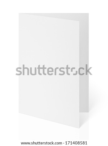 Blank folded flyer isolated on white with clipping path