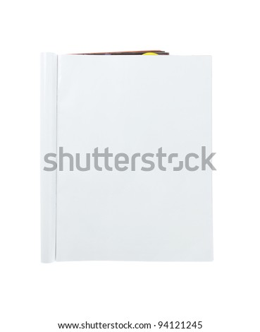Blank folded magazine isolated on white background - stock photo