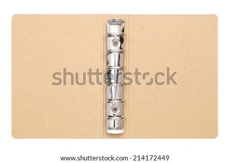 blank folder bookbinder on white background  - stock photo