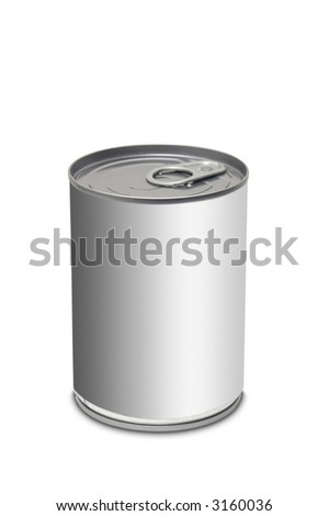 Blank food can over white background - stock photo